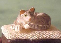 "1/2"" Scale Miniature Gray Cat Curled Up"