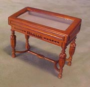 "Bespaq 1/2"" Scale Miniature Walnut Gallery Slant Top Display Case"