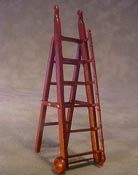 "Bespaq 1/2"" Scale Miniature Walnut Gallery Library Ladder"