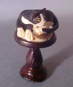 "1/2"" Scale Miniature Cat Curled Up on a Bespaq Stool"