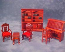 "Townsquare 1/2"" Scale Miniature Mahogany Library Set"