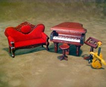 Townsquare Miniatures 1/2� Scale Miniature Five Piece Music Room Set