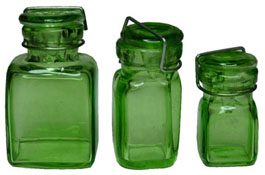 "Bright deLights 1"" Scale Square Glass Canning Jar Set"