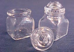 "Bright deLights 1"" Scale Pair Of Square Glass Jars with Lids"