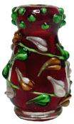 1&quot; Scale Bright deLights Red Fused Glass Vase with Leaf Detail