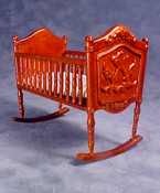 International Dollhouse Miniatures Walnut Cradle