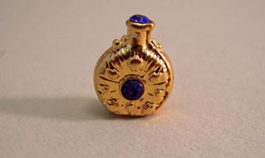 "1"" Scale Miniature Sapphire and Gold Perfume Bottle"