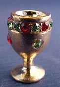 "1"" Scale Decorative Gold Chalice with Faux Jewels"