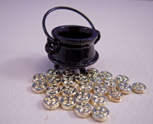 Bright deLights Black Pot with Gold Doubloons 1:12