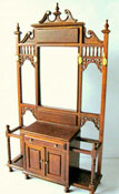 "1"" Scale JBM Walnut Hall Stand With Mirror Back"