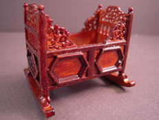 JBM Miniature Walnut Rocking Cradle 1:24
