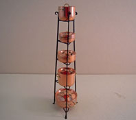 """1"""" Scale Miniature Hand Crafted J. Getzan Kitchen Standing Pot Rack with Five Copper Pots"""