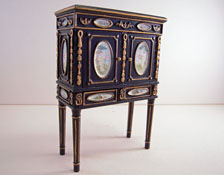 """1"""" Scale JBM Black Two Door Chinese Cabinet"""