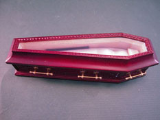 "1"" Scale Jeannetta Kendall Mahogany Glass Top Wooden Coffin"