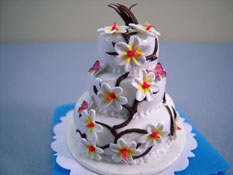 "Bright deLights 1"" Scale Three Tier Butterfly Flower Cake"