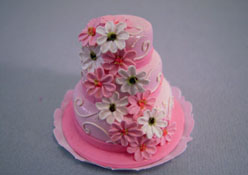 "Bright deLights 1"" Scale Three Tier Pink Flower Cake"