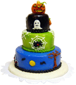 "Bright deLights 1"" Scale Halloween Jack-O-Lantern Three Tier Cake"