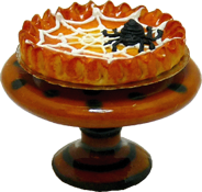 "1"" Scale Spider Pumpkin Pie On a Halloween Pie Plate"