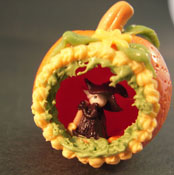 "Bright deLights 1"" Scale Panorama Pumpkin with a Witch Inside"