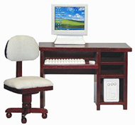 "1"" Scale Mahogany Computer Desk Set"