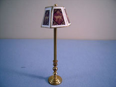 "Miniscules 1/2"" Scale Miniature Non-Working Animal Print and Brass Floor Lamp"