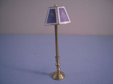 "Miniscules 1/2"" Scale Miniature Non-Working Blue Flame and Brass Floor Lamp"