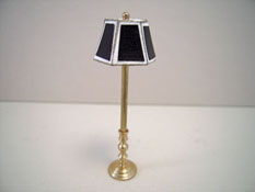 "Miniscules 1/2"" Scale Miniature Non-Working Black and Brass Floor Lamp"