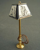 "Miniscules 1/2"" Scale Miniature Black Renaissance Brass Floor Lamp"