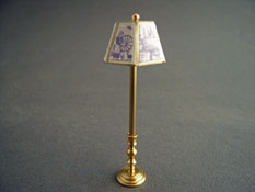 "Miniscules 1/2"" Scale Miniature Non-Working Blue Toille and Brass Floor Lamp"
