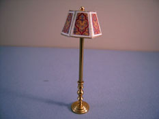 "Miniscules 1/2"" Scale Miniature Non-Working Gold With Red and Brass Floor Lamp"