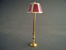 "Miniscules 1/2"" Scale Miniature Non-Working Mauve and Brass Floor Lamp"