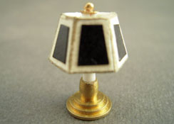 "Miniscules 1/2"" Scale Miniature Non-Working Black Candlestick Base Table Lamp"