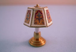 "Miniscules 1/2"" Scale Miniature Non-Working Red And Gold Candlestick Base Table Lamp"