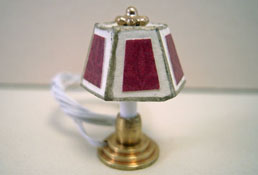 """Miniscules 1/2"""" Scale Miniature Wired Mauve Candlestick Base Table Lamp"""
