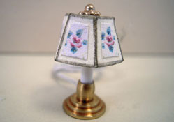 "Miniscules 1/2"" Scale Miniature Floral Candlestick Base Table Lamp"