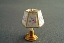 "Miniscules 1/2"" Scale Miniature Non-Working Pink Floral Candlestick Base Table Lamp"