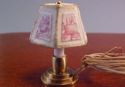 "Miniscules 1/2"" Scale Miniature Rose Candlestick Base Table Lamp"