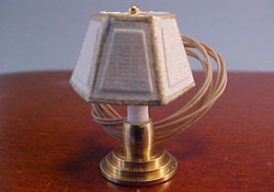 "Miniscules 1/2"" Scale Miniature White Candlestick Base Table Lamp"