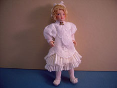"Loretta Kasza Hand Crafted 1"" Scale Iris In White Eyelet Toddler Porcelain Doll"