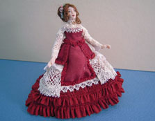 "Loretta Kasza Hand Crafted 1/2"" Scale Anna In Bergundy and Lace Porcelain Doll"