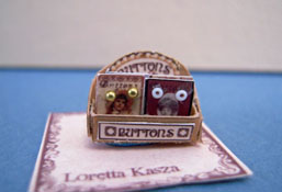 "Loretta Kasza 1/2"" Scale Hand Crafted Filled Button Display"