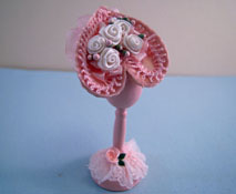 "Loretta Kasza 1"" Scale Hand Crafted Pink Hat On A Wooden Stand"