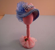 "Loretta Kasza 1"" Scale Hand Crafted Blue Hat On A Wooden Stand"