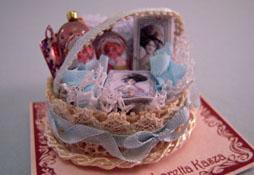 """Loretta Kasza 1"""" Scale Hand Crafted Filled Blue Bath Basket"""