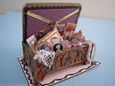 "Loretta Kasza 1"" Scale Miniature Hand Crafted Filled Small Vanity Box"