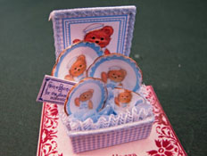 "Loretta Kasza 1"" Scale Miniature Hand Crafted Blue Teddy Bear China Box Set"