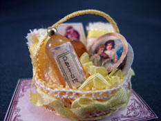 "Loretta Kasza 1"" Scale Hand Crafted Filled Yellow Bath Basket"