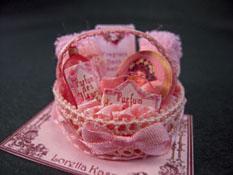 "Loretta Kasza 1"" Scale Hand Crafted Filled Pink Bath Basket"