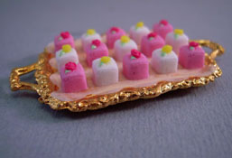 "Lola Originals 1"" Scale Golden Tray Of Petit Fours"
