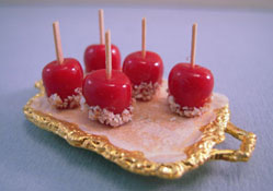 "Lola Originals 1"" Scale Golden Tray Of Candy Apples"
